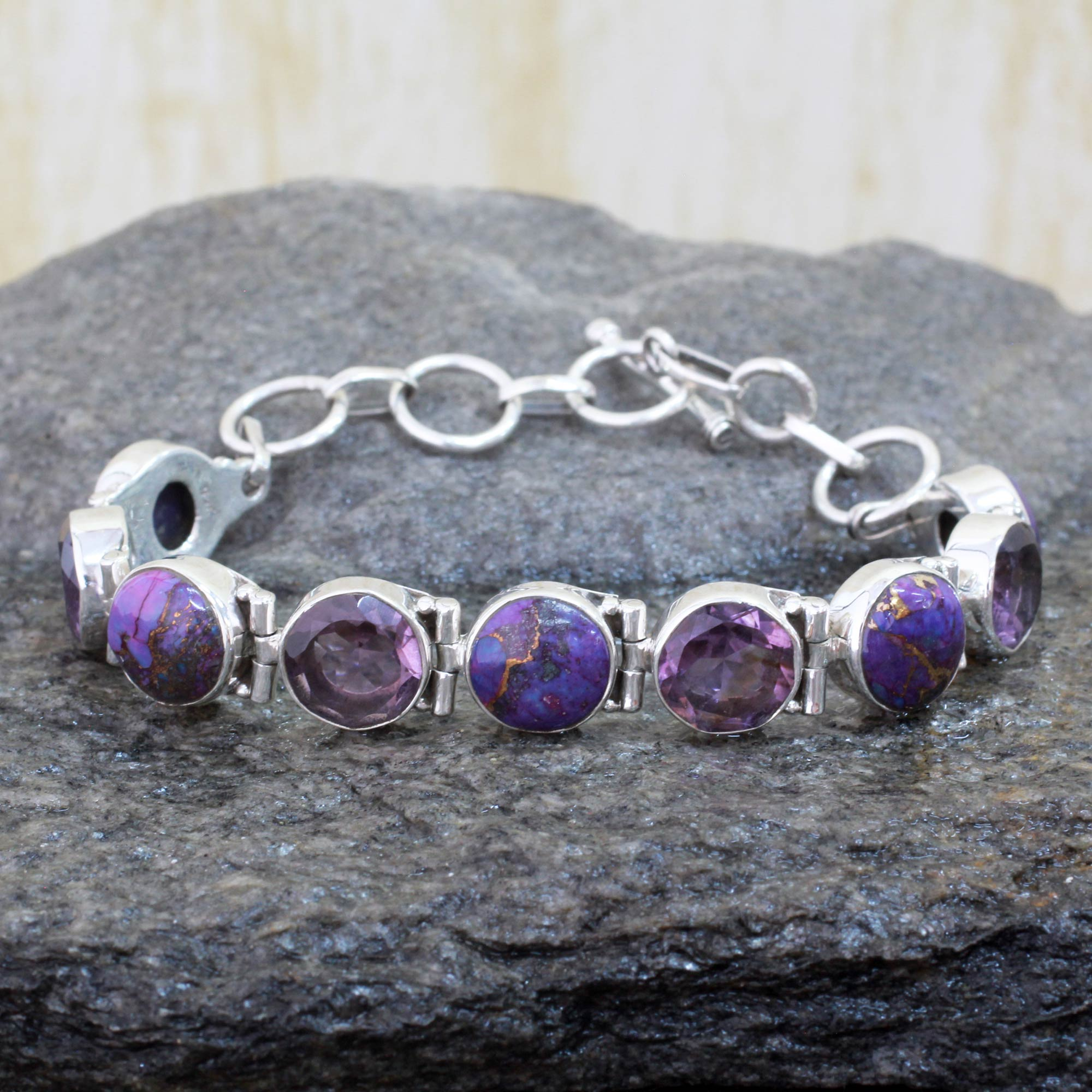 p silver friendship spiritual artisan sterling amethyst and bracelet purple turquoise novica