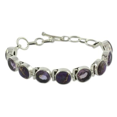 Amethyst and Purple Turquoise Sterling Silver Bracelet