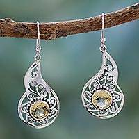 Citrine dangle earrings, 'Golden Paisley' - India Fair Trade Artisan Crafted Citrine Earrings