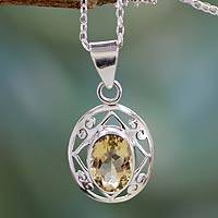 Citrine pendant necklace, 'Tropical Sunshine' - Handmade 5 Carat Citrine Pendant Necklace