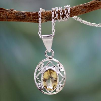 Citrine pendant necklace, 'Tropical Sunshine' - Handmade 5 Carat Citrine Pendant Necklace