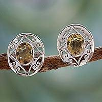 Citrine button earrings, 'Tropical Sunshine' - Artisan Crafted Silver and Citrine Earrings