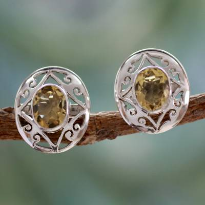 Silver and Citrine Button Earrings