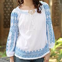 Cotton blouse, 'Sweet Blue Romance' - Fully lined White Cotton Blouse with Blue Hand Embroidery