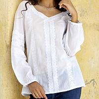 Cotton tunic, 'Gomti Paths' - Long Sleeve White Cotton Tunic with Machine Embroidery