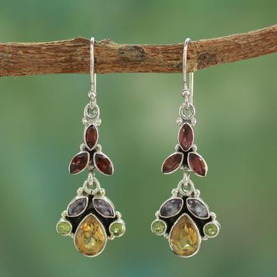 Multi-gem dangle earrings, 'Tropical Elegance' - Artisan Crafted Multi-gemstone Earrings