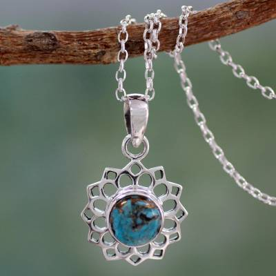 Sterling silver pendant necklace, 'Star of Gujurat' - Turquoise colour Necklace Hand Crafted in Sterling Silver