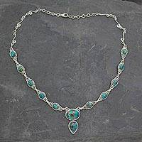 Sterling silver Y necklace, 'Blue Magnificence' - Handcrafted Turquoise Color and Sterling Silver Necklace
