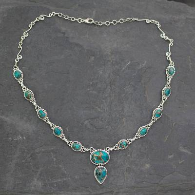 Sterling silver Y necklace, 'Blue Magnificence' - Turquoise colour Y Necklace Hand Crafted in Sterling Silver