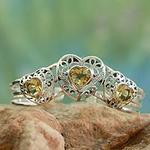 Citrine Hearts in Sterling Silver Cuff Bracelet, 'Golden Hearts'