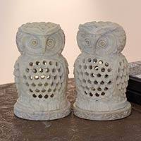 Featured review for Soapstone candleholders, Lucky Owls (pair)