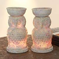 Soapstone oil warmers, 'Lucky Owls' (pair) - Indian Soapstone Oil Burners