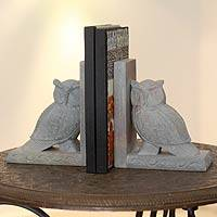 Soapstone bookends, 'Wisdom' (pair) - Fair Trade Soapstone Owl Bookends from India