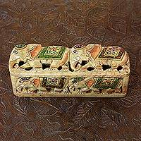 Soapstone box, 'The King's Elephants' - Carved Soapstone Box from India