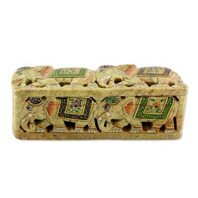 Soapstone box, 'The King's Elephants' - Elephant Soapstone Hand Painted Box