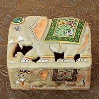 Soapstone box, 'Royal Indian Elephants' - Handmade Royal Elephant Soapstone Decorative Box
