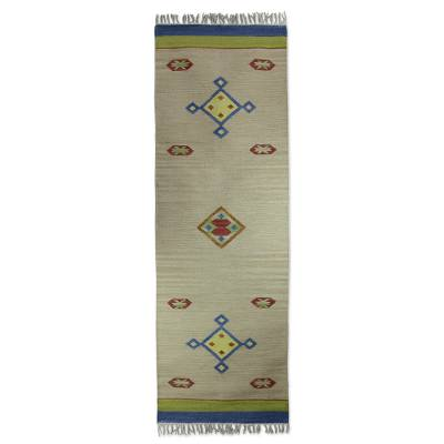 Wool runner rug, 'Rainbow Kites' (2.5x8) - Handcrafted Runner Rug from India (2.5x8)
