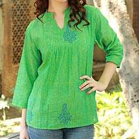 Cotton tunic, 'Lapis Paisley' - Block Print Green Cotton Tunic Top