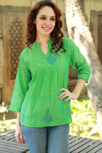 Cotton tunic, 'Lapis Paisley' - Block Print Green Cotton Tunic Top