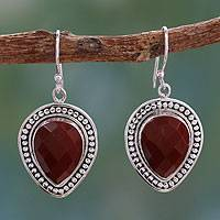 Jasper dangle earrings, 'Facets of Fire' - Faceted Red Jasper Dangle Earrings