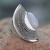 Rainbow moonstone cocktail ring, 'Jaipur Mist' - Sterling Silver Rainbow Moonstone Ring from India