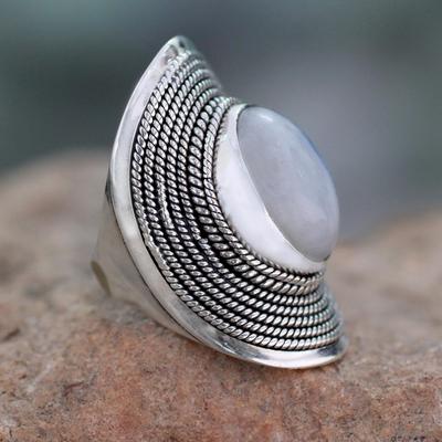 Rainbow moonstone cocktail ring, 'Jaipur Mist' - Sterling Silver Rainbow Moonstone Ring from India