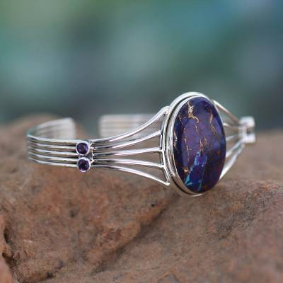 Sterling silver cuff bracelet, 'Violet Island' - Amethyst and Composite Turquoise Silver Cuff Bracelet