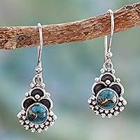 Sterling silver dangle earrings, 'Blue Rapture' - Sterling Silver Earrings Handcrafted with Blue Turquoise