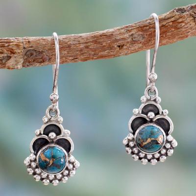 Sterling silver dangle earrings, 'Blue Rapture' - Sterling Silver Earrings Handcrafted with Blue Turquoise