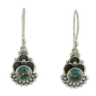 Sterling Silver Earrings Handcrafted with Blue Turquoise