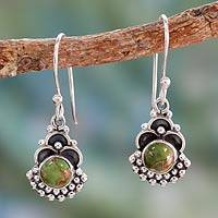 Sterling silver dangle earrings, 'Green Rapture' - Sterling Silver Earrings Handcrafted with Green Turquoise
