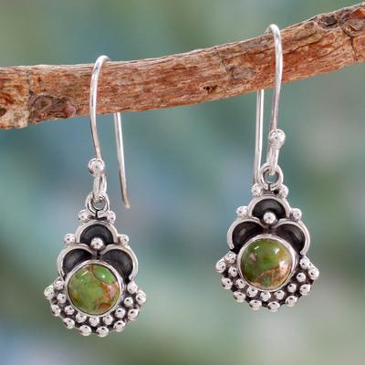 Sterling silver dangle earrings, 'Green Rapture' - Sterling Silver Earrings Handcrafted with Green Turquoise