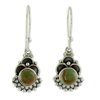 Sterling Silver Earrings Handcrafted with Green Turquoise