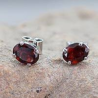 Garnet stud earrings, 'Scintillate' - 3 Carat Garnet Stud Earrings from India
