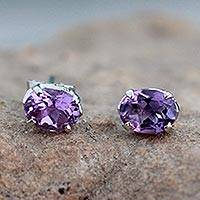 Amethyst stud earrings, 'Scintillate'