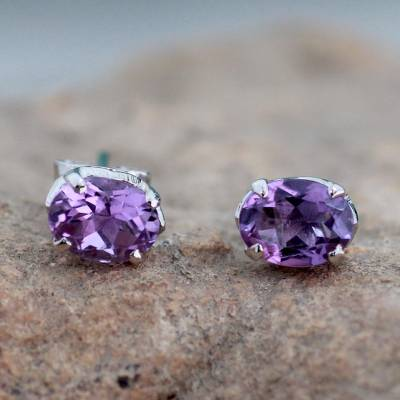 14dd732a5 Amethyst stud earrings, 'Scintillate' - 2 Carat Amethyst Stud Earrings from  India