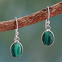 Malachite dangle earrings, 'Verdant Paths' - Silver and Malachite Earrings Crafted in India