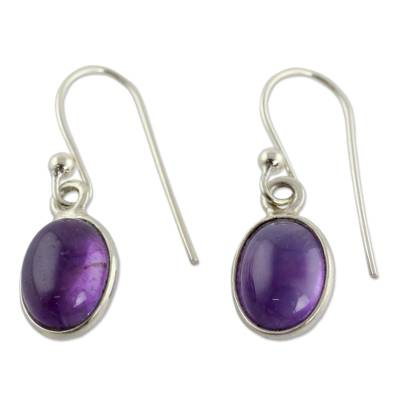 Amethyst dangle earrings, 'Luminous Lilac' - Silver and Amethyst Earrings Crafted in India