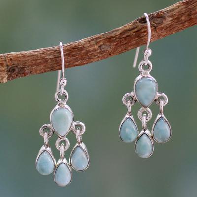 Larimar chandelier earrings, 'Sky Drops' - Handmade Larimar and Sterling Silver Chandelier Earrings
