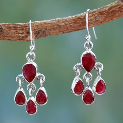 Sterling silver dangle earrings 'Love Charm' - Handmade Sillimanite and Silver Chandelier Earrings