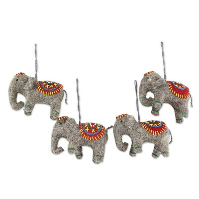 Wool ornaments, 'Elephants in Red' (set of 4) - Set of 4 Handmade Elephant Ornaments