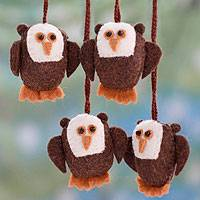 Wool ornaments, 'Solemn Brown Owls' (set of 4)