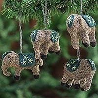 Wool ornaments, 'Elephants in Green' (set of 4)