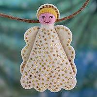 Wool treetop ornament, 'Angel Smile' - Handmade Angel Treetop Ornament
