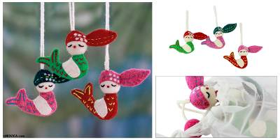 Wool ornaments, Holiday Mermaids (set of 3)