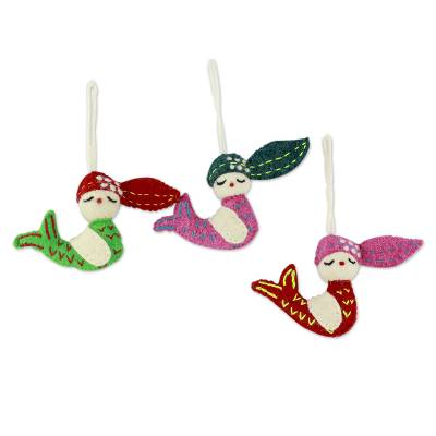 Wool ornaments, 'Holiday Mermaids' (set of 3) - 3 Handmade Mermaid Ornaments Set