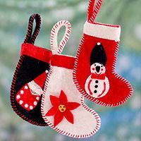 Wool ornaments, 'Christmas Stockings' (set of 3) - 3 Handcrafted Christmas Stocking Ornaments from India