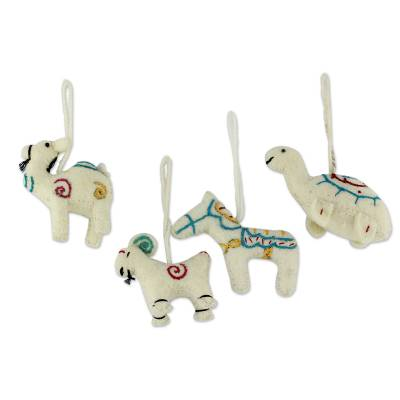Wool ornaments, 'Cheerful White Creatures' (set of 4) - White Wool Animal Ornaments (Set of 4)