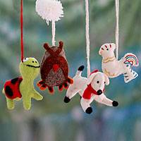 Wool ornaments, 'Cheerful Creatures' (set of 4)