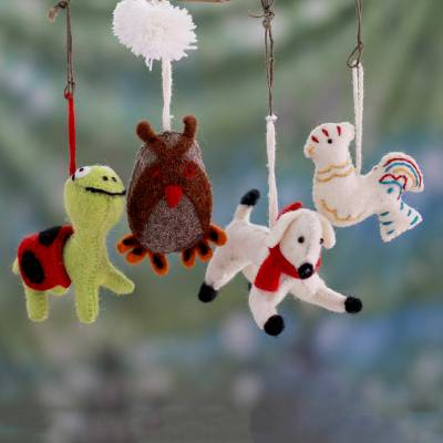 Wool ornaments, 'Cheerful Creatures' (set of 4) - Hand Crafted Wool Animal Ornaments (Set of 4)